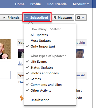 Facebook Subscribe Feature