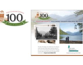 100 Years of Tourism in Clallam County logo design and print ad