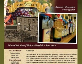 Von Stiehl Winery - e-newsletter