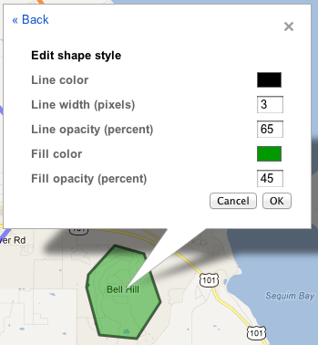 change colors on Google map area