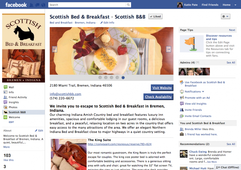 Facebook Tab for Scottish Bed & Breakfast