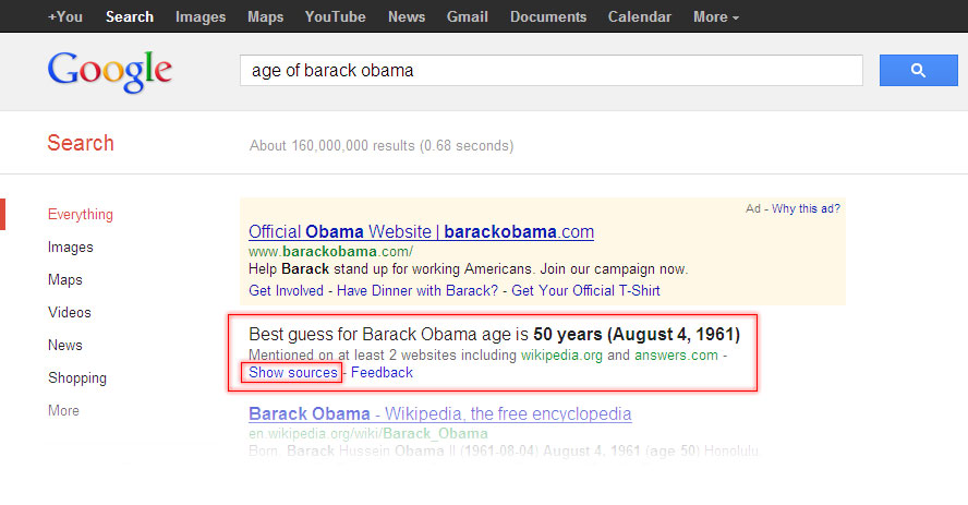 Google search result for age of Barack Obama