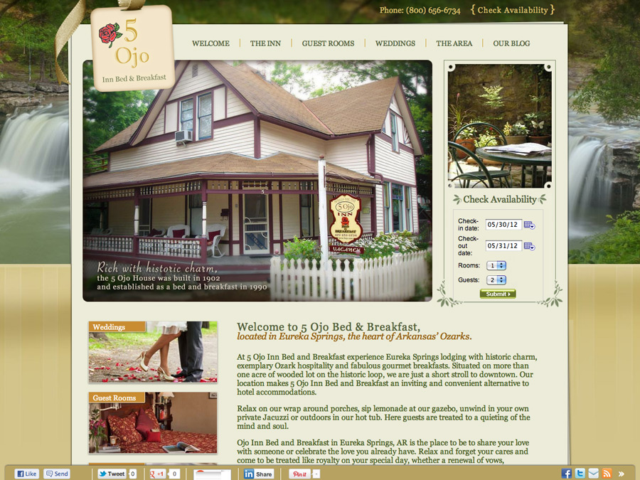 New website design and advantage plan for 5 Ojo Bed and Breakfast