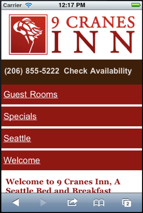 Mobile Website for 9 Cranes Inn
