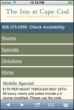 Inn at Cape Cod Mobile Websites
