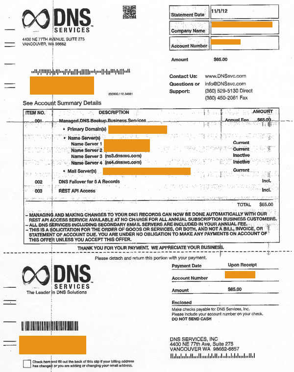 DNS Services DNSsvccom Invoice Is A Solicitation - What's a invoice for service business