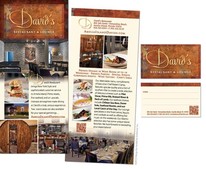 Mini menus design for davids restaurant fernandina beach fl davids restaurant rack card and business card colourmoves