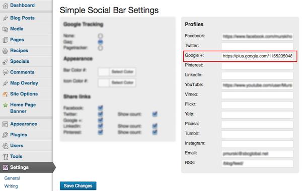 Settings > Simple Social Bar