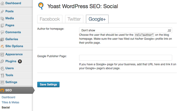 WordPress SEO > Social > Google+ Google+