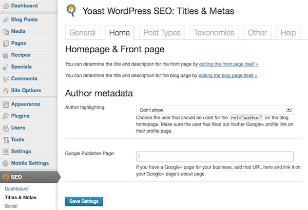 WordPress SEO > Titles & Metas > Home