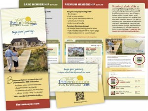 QR-coded trifold brochure and business card designs for TheInnkeeper.com.