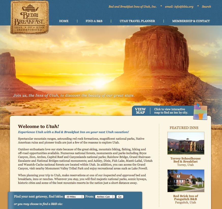 Bed and Breakfast Inns of Utah, Inc. - new website design