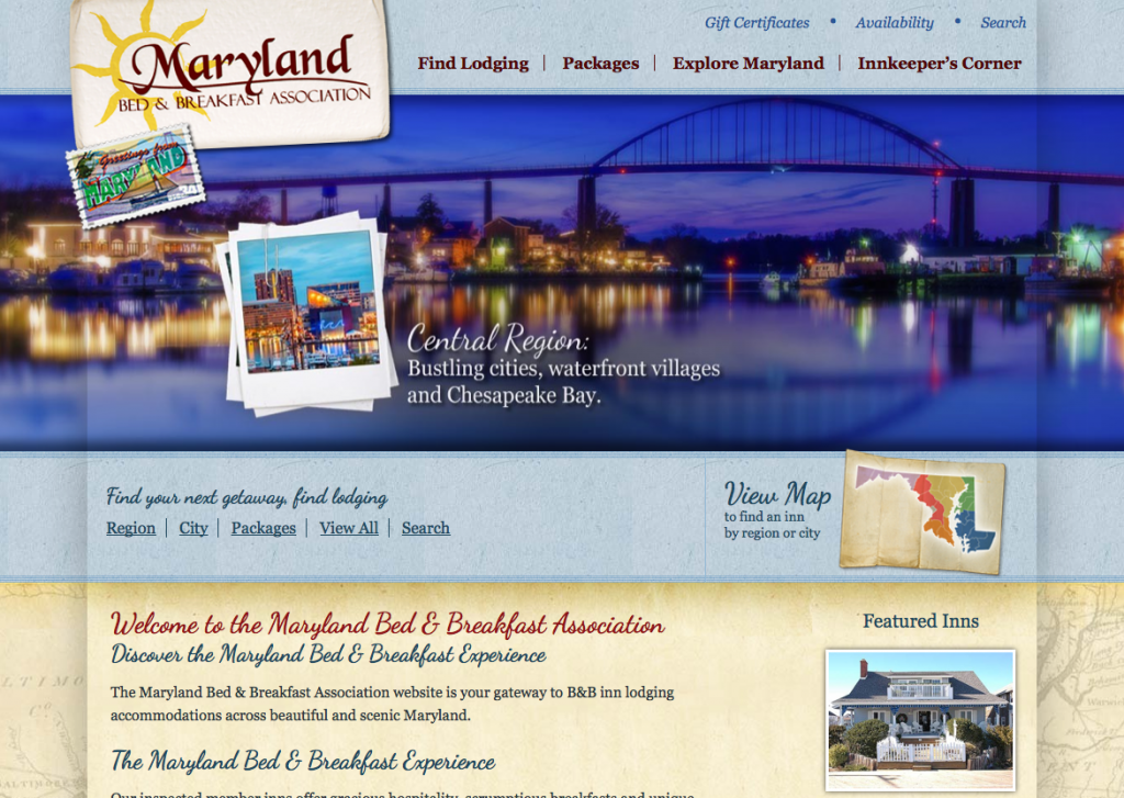 New Directory Website Design for Maryland Bed & Breakfast Association