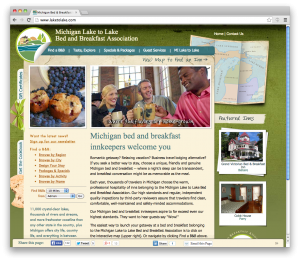 responsive website - Michigan Lake to Lake Bed and Breakfast Association