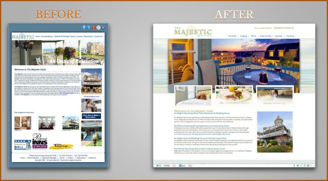 Before and After Shots of The Majestic Website