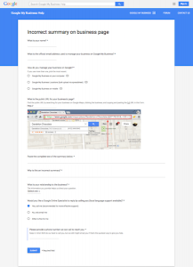 Google My Business - Incorrect summary on business page form