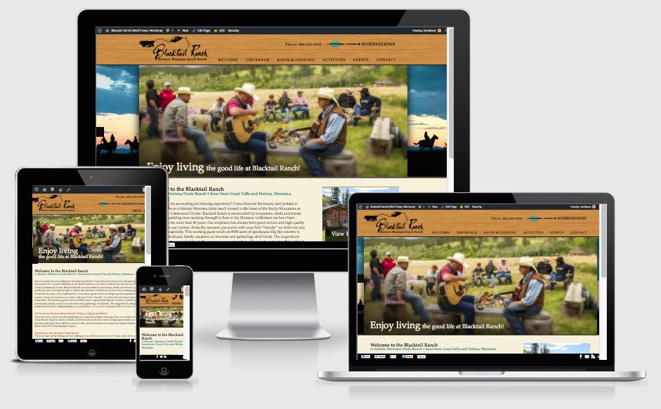 Custom Responsive Dude Ranch Web Design for Blacktail Ranch (Wolf Creek, Montana)