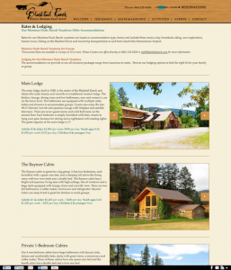 blacktailranch.com dude ranch web design custom post type for rooms by InsideOut Solutions