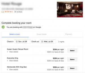 Google Hotel Finder direct booking step 1