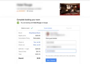 Google Hotel Finder direct booking step 2