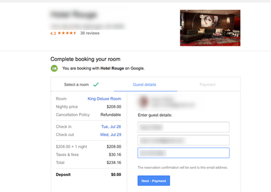 Google hotel finder direct booking is being tested for Google hotes