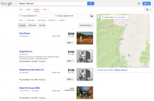 Google Hotel Finder - list view of Warren, Vermont