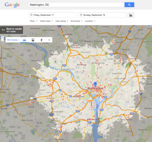 Google Hotel Finder - map view of Washington DC