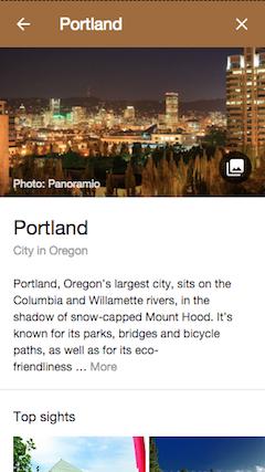 Google travel planner destination page