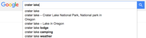 Google search autocomplete for crater lake