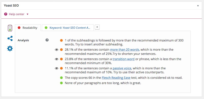 blog post Yoast SEO widget check 2 - readability