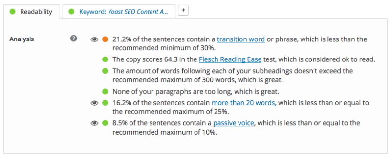 blog post Yoast SEO widget - Readability result 2
