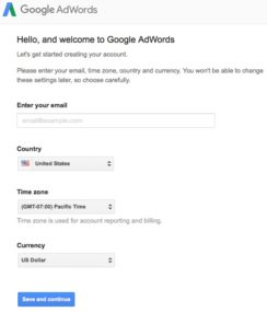 Google AdWords 3 - email, country, time zone & currency
