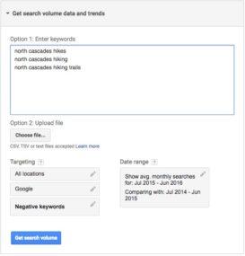 Google AdWords Keywords Planner 04 - volume