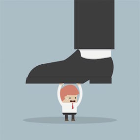 "illustration depicting ""do not let big business step on your niche marketing without a fight"""