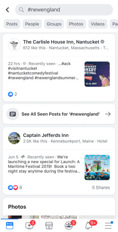 Hashtag marketing Facebook search results.