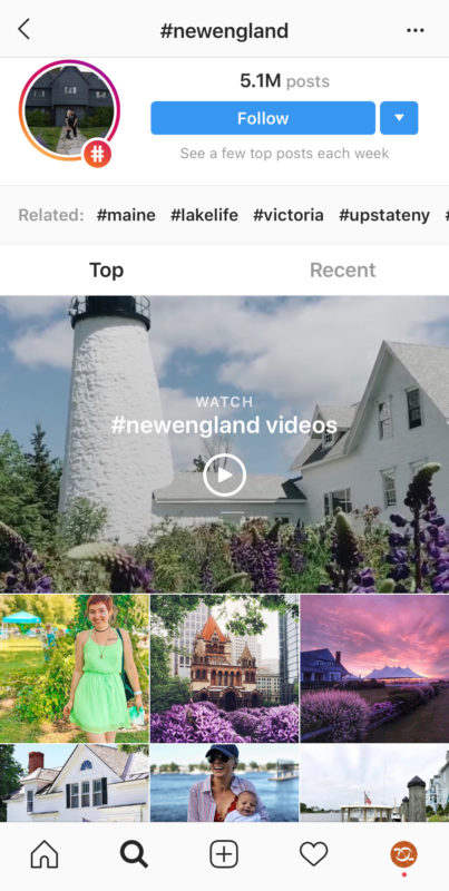 Hashtag Marketing Instagram search results.
