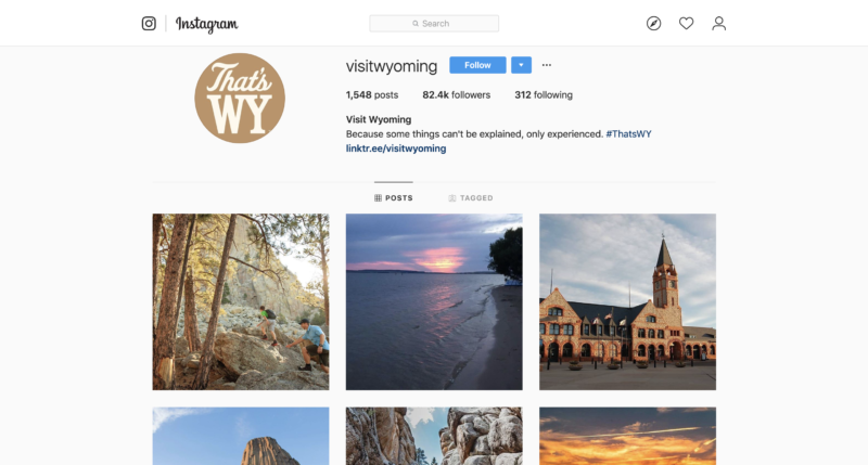 Visit Wyoming Instagram Page Screenshot