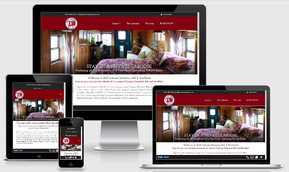 InsideOut Solutions new website design Red Caboose Getaway