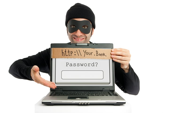 "A thief (dressed in black and eye-masked) pops up from behind a laptop's screen and hides the real URL by planting a fake one on it, clumsily written on a piece of cardboard as a visual metaphor for the phishing technique. Then, he ""kindly"" invites the user to fill in his/her bank account's password."
