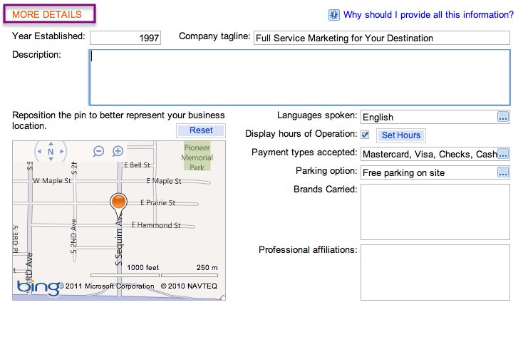 Add a description of your business on Bing