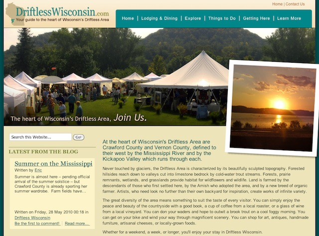 The New Driftlesswisconsin.com website