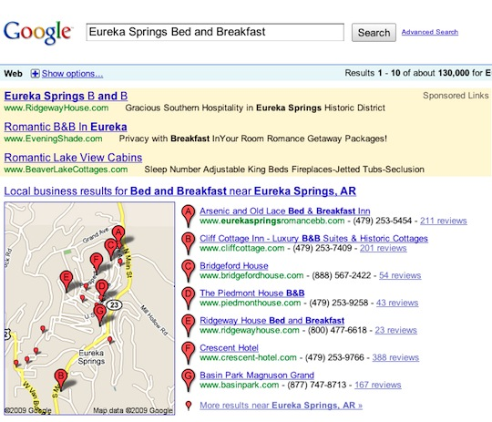 Google search results for Eureka Springs Bed and Breakfast