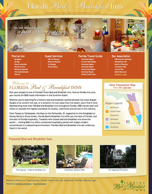 Home page of the new Accredited Inns and Bed and Breakfasts of Florida