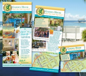 Rack card and business card designs for Garden House, Key West, FL