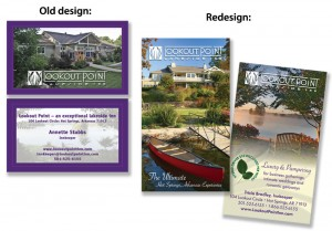 Old design vs. new business card design for Lookout Point