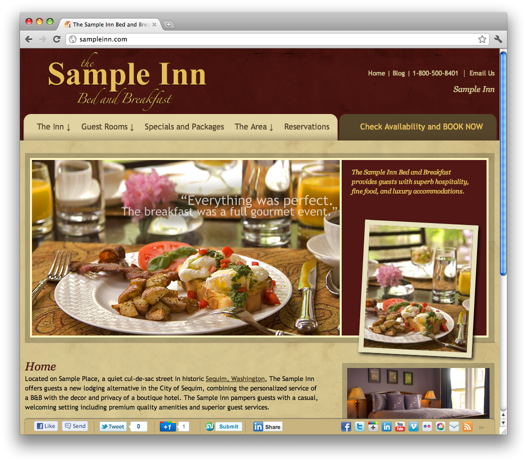 Inndx Simple Social Bar as It Appears on a Website